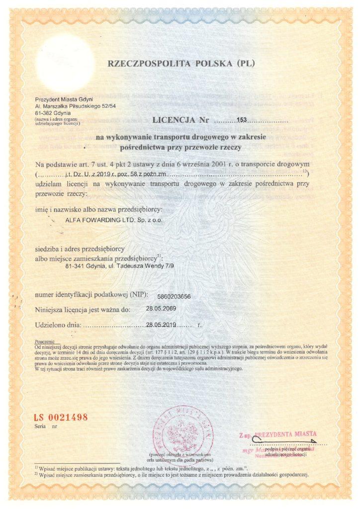 Nowa Licencja na wykonywanie transportu drogowego w zakresie pośrednictwa przy przewozie rzeczy