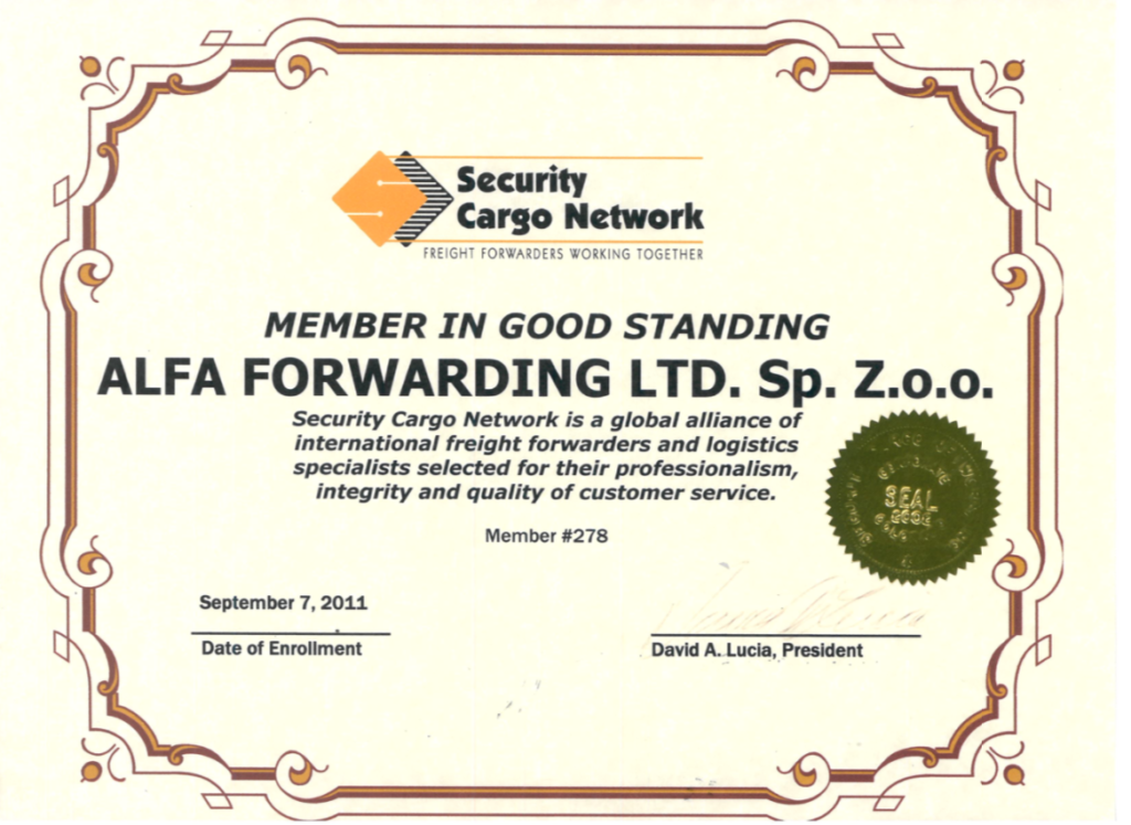 Alfa Forwarding członkiem Security Cargo Network